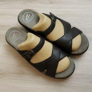 Dansko Sela Black Cross Front Slip-On Sandals